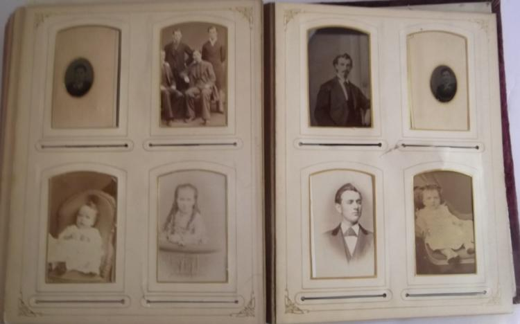 Photo album with 44 tintypes & cabinet cards