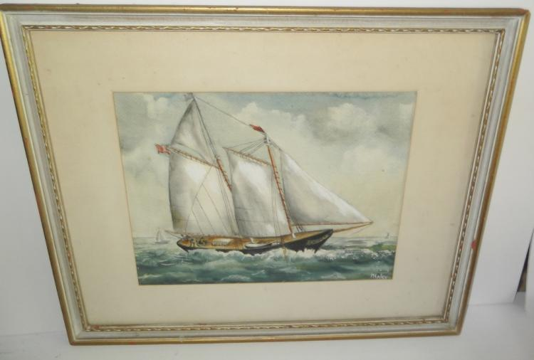 Watercolor sailboat at sea