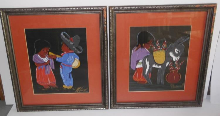 2 mid-century folk art framed mixed media