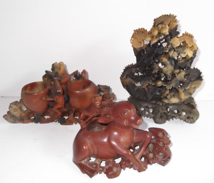 3 Oriental carved soapstone vases