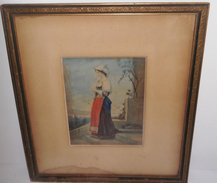 Watercolor of woman walking down steps