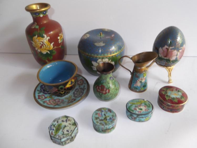 10  piece cloisonne lot