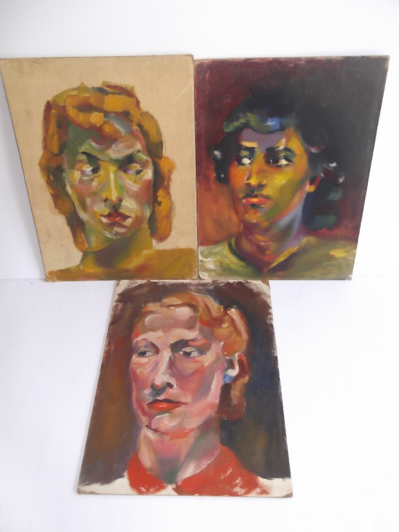 3 oil on board woman portraits