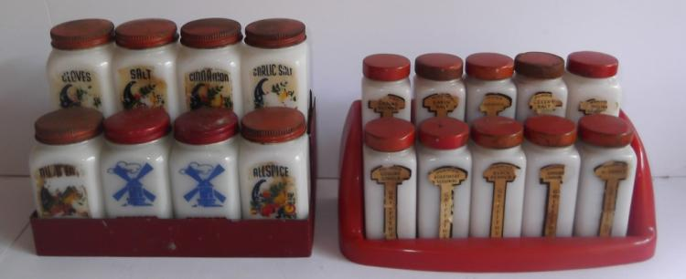 2 late 1930's spice racks