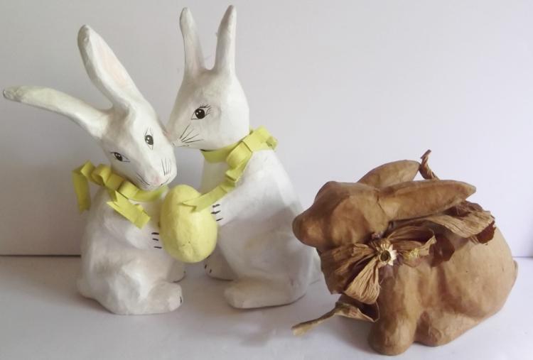 2 vintage paper mache rabbits