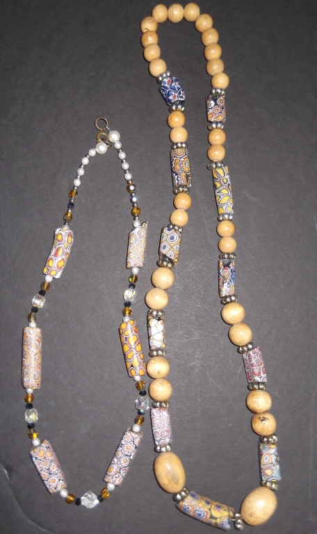2 African trade bead necklaces