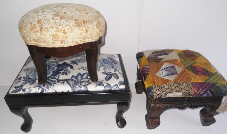 3 upholstered foot stools