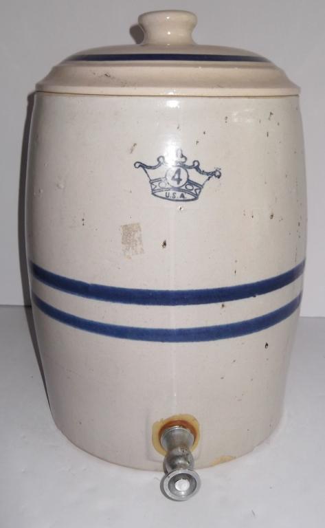 4 Gallon CROWN Blue Stripe Crock