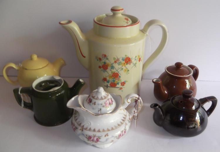 Collection of 5 teapots