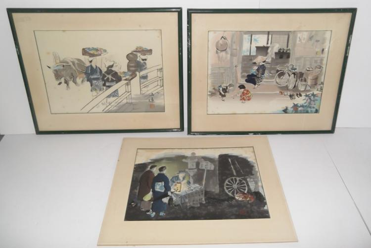 3 Chinese mixed media paintings
