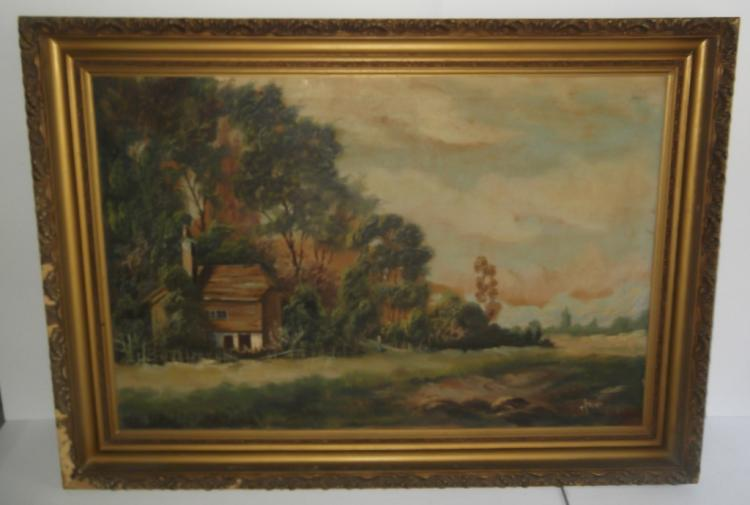 Large oil on canvas house landscape scene