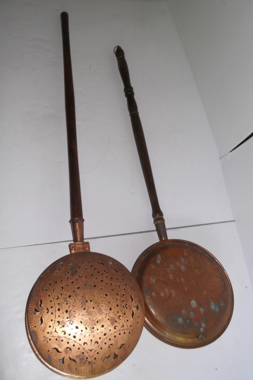 2 antique brass bed warming pans