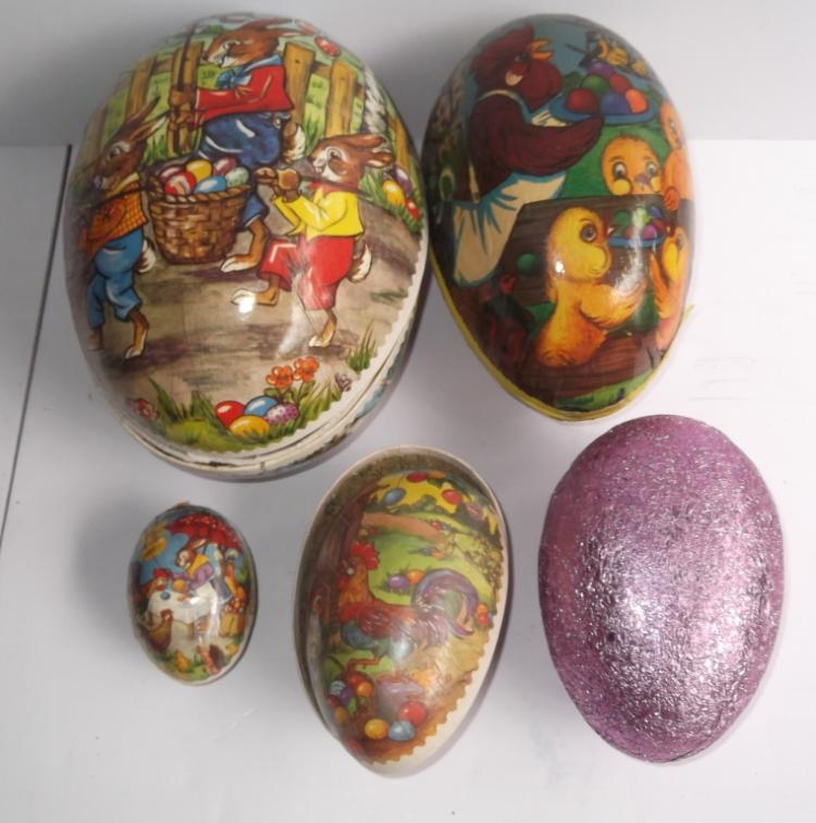 5 Vintage Paper Mache Easter Egg Candy Containers