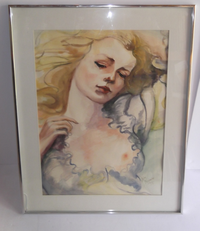 Watercolor of a partially nude woman portrait