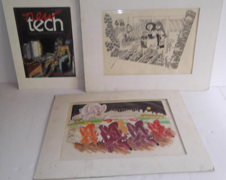 3 original illustration drawings