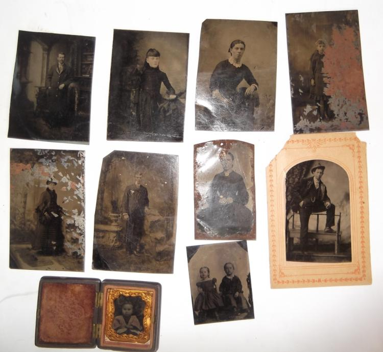 10 antique tintypes
