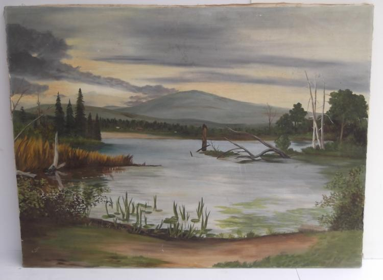 Large oil on canvas lake scene