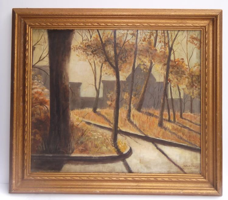 Oil on board wooded scene