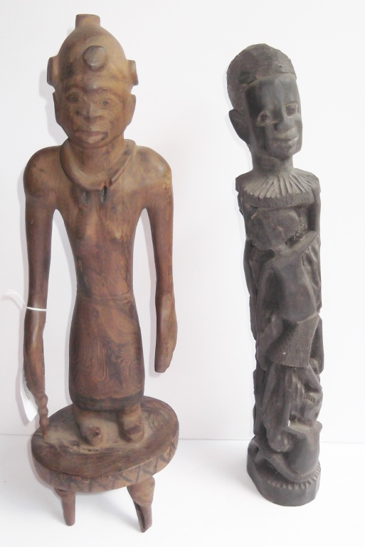 2 vintage African carved wood statues