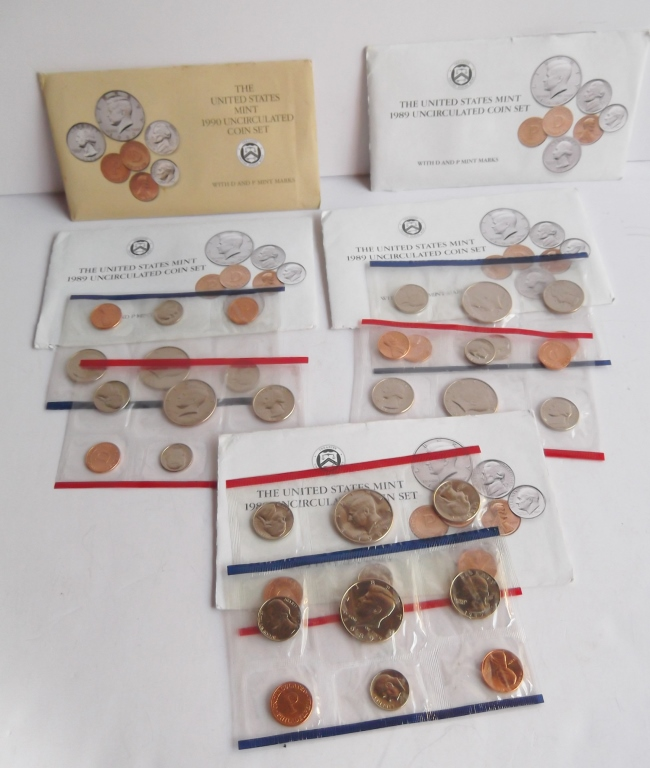 5 sets of United States uncirculated coins