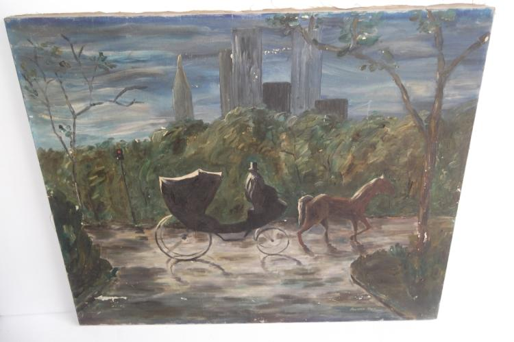 Oil on canvas horse & buggy in park scene