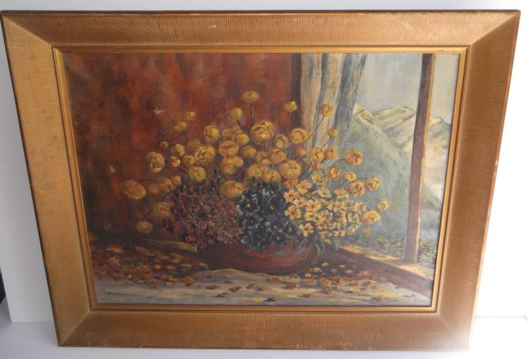 Oil on canvas floral still life signed