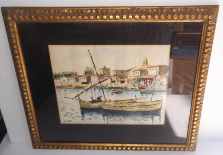 Watercolor sailboats signed Diaz.