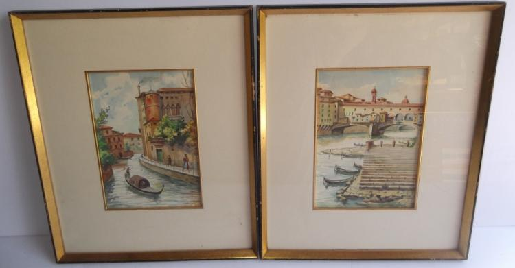 2 Venice scene watercolors