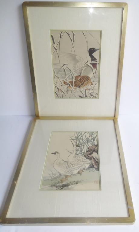 2 Chinese framed bird prints