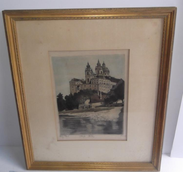 Castle lithograph on silk