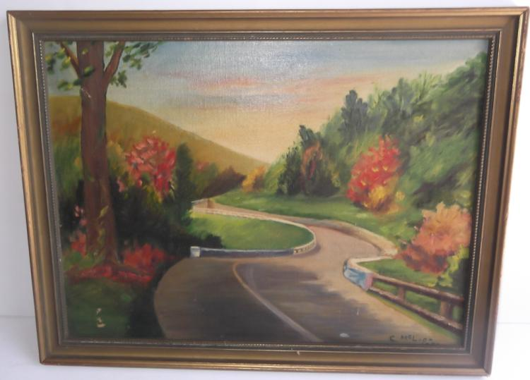 Oil on board country street scene