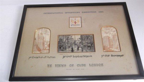 Souvenir of Intl. Inventions Exhib. silk postcards