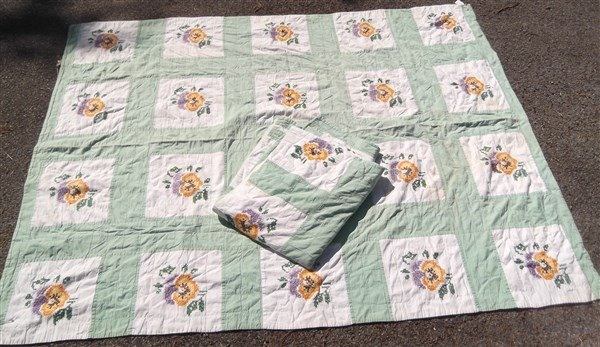 c. 1930 2 embroidered flower quilt coverlets.