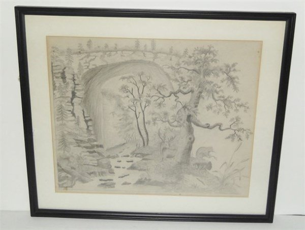 Pencil drawing wooded scene