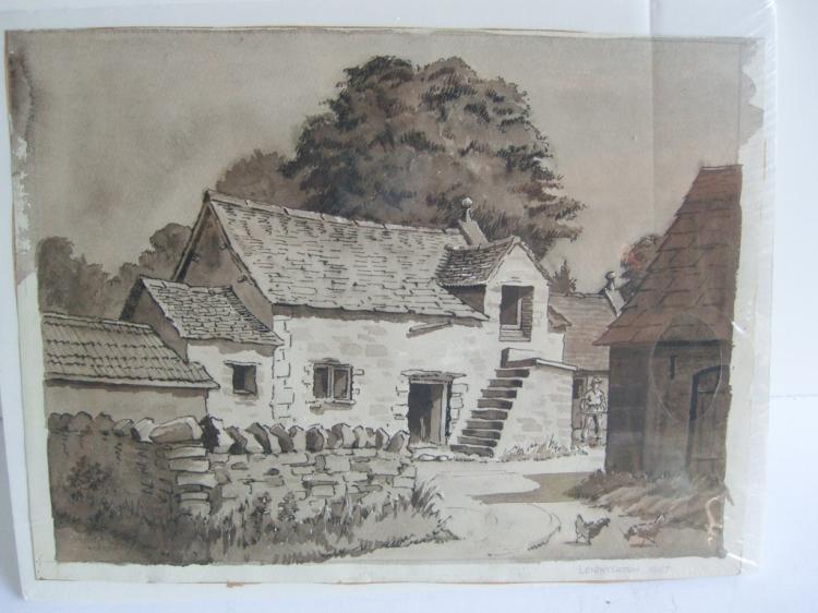 Watercolor farm scene