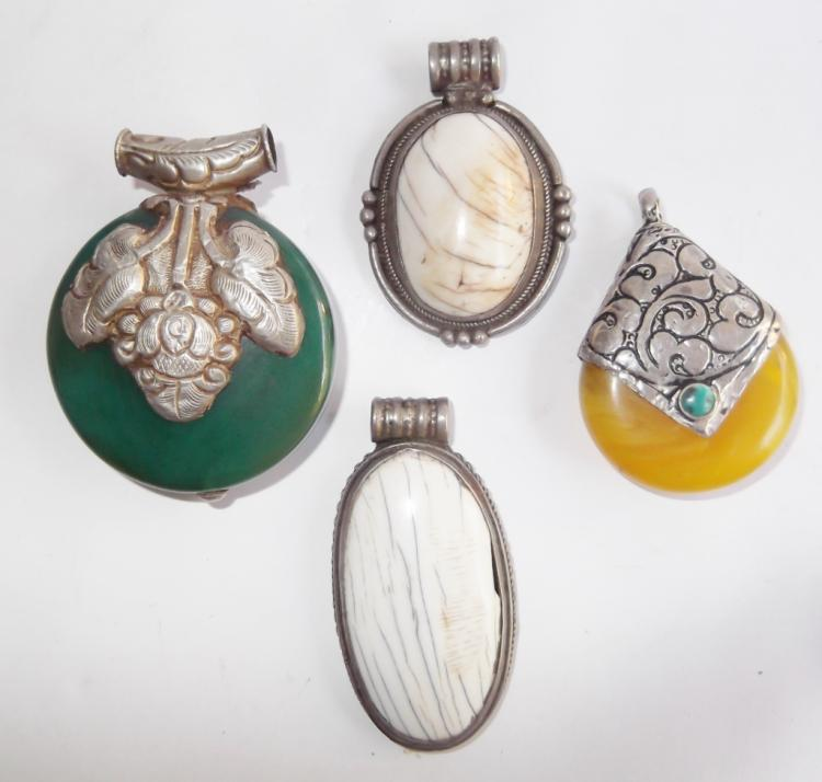 4 vintage costume jewelry pendants
