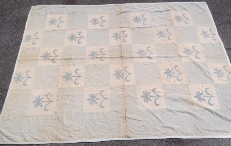 Vintage American hand made blue floral quilt cover