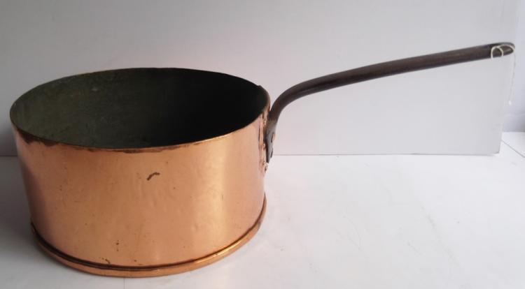 Large antique hand wrought copper pot