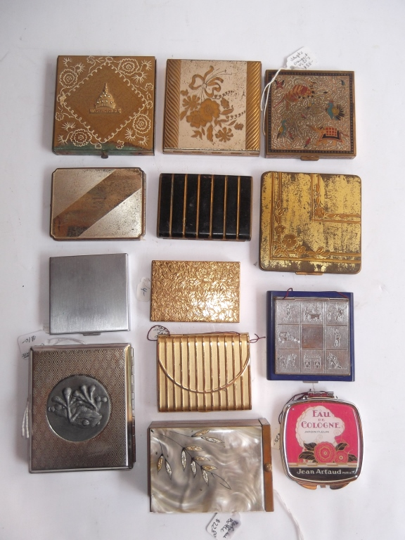 Collection of 13 vintage compacts
