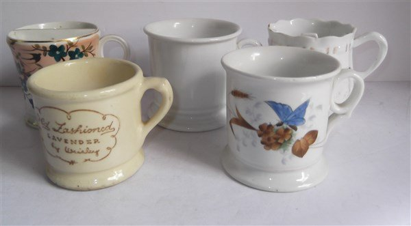 5 late 19th/early 20th c. shaving mugs