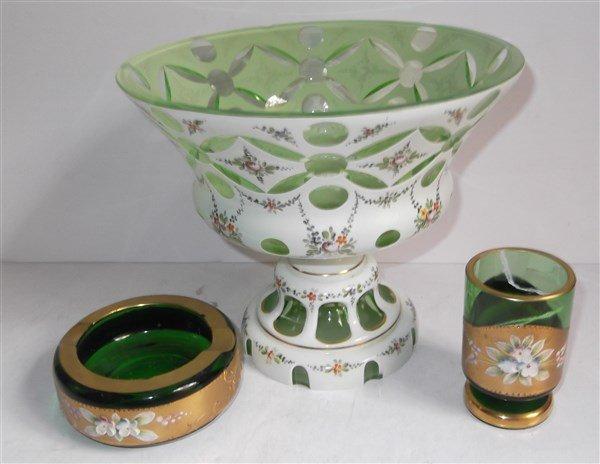 3 piece Bohemia green glass lot