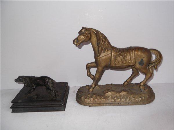Ansonia horse clock topper & Spaniel dog statue