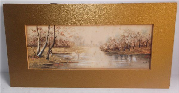 Watercolor Swans swimming in lake signed