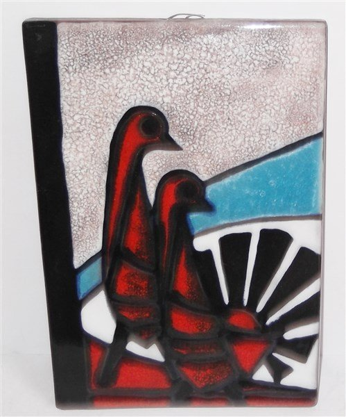 West Germany ceramic bird wall plaque
