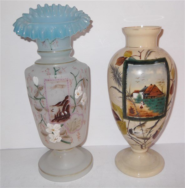 2 hand painted bristol glass vases