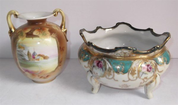 2 pieces hand painted Nippon
