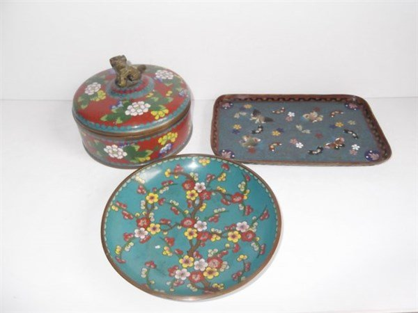 3 piece Vintage cloisonne lot
