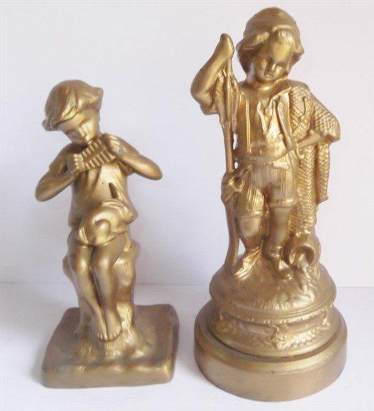 vintage cast iron gilded figures