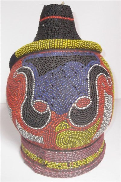 African beaded bottle