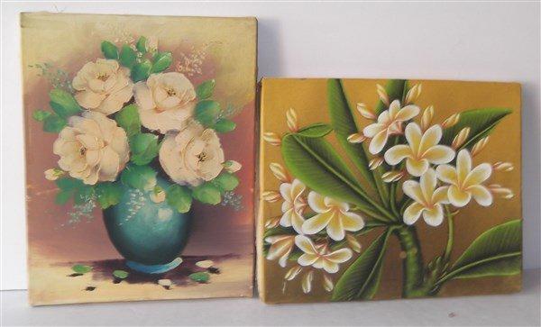 2 Balinese art flower oil on canvas paintings